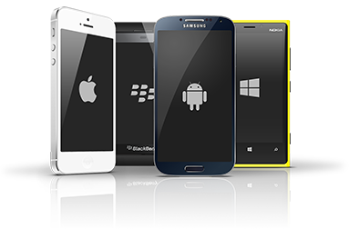 Smartphones mit den Symbolen für Anroid, iOS, Windows Phone und BlackBerry